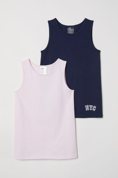 2-pack vest tops - Dark blue/Light pink - Kids | H&M CN