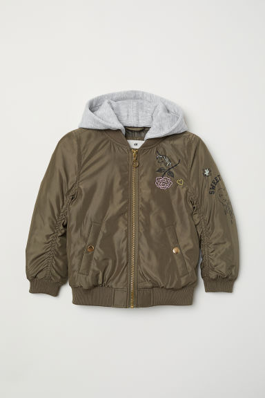 Hooded bomber jacket - Khaki green - Kids | H&M CN