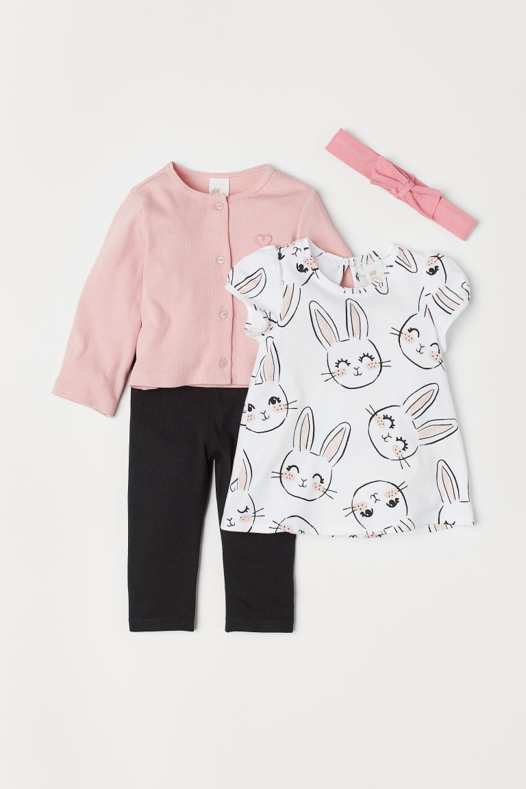 4-piece jersey set - White/Rabbit - Kids | H&M CN