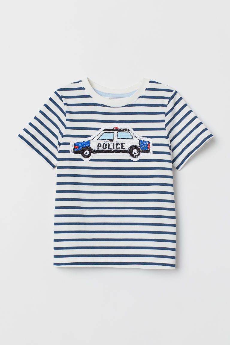 Reversible sequin T-shirt - White striped/Police car - Kids | H&M CN