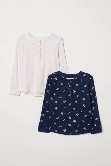 2-pack tops with buttons - Light pink/Dark blue - Kids | H&M