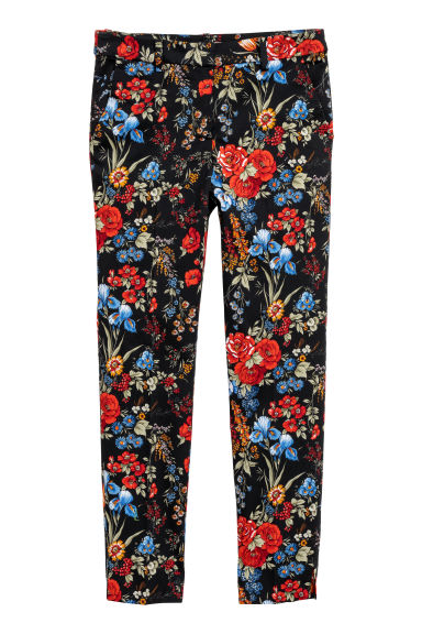 Patterned cigarette trousers - Black/Floral - Ladies | H&M