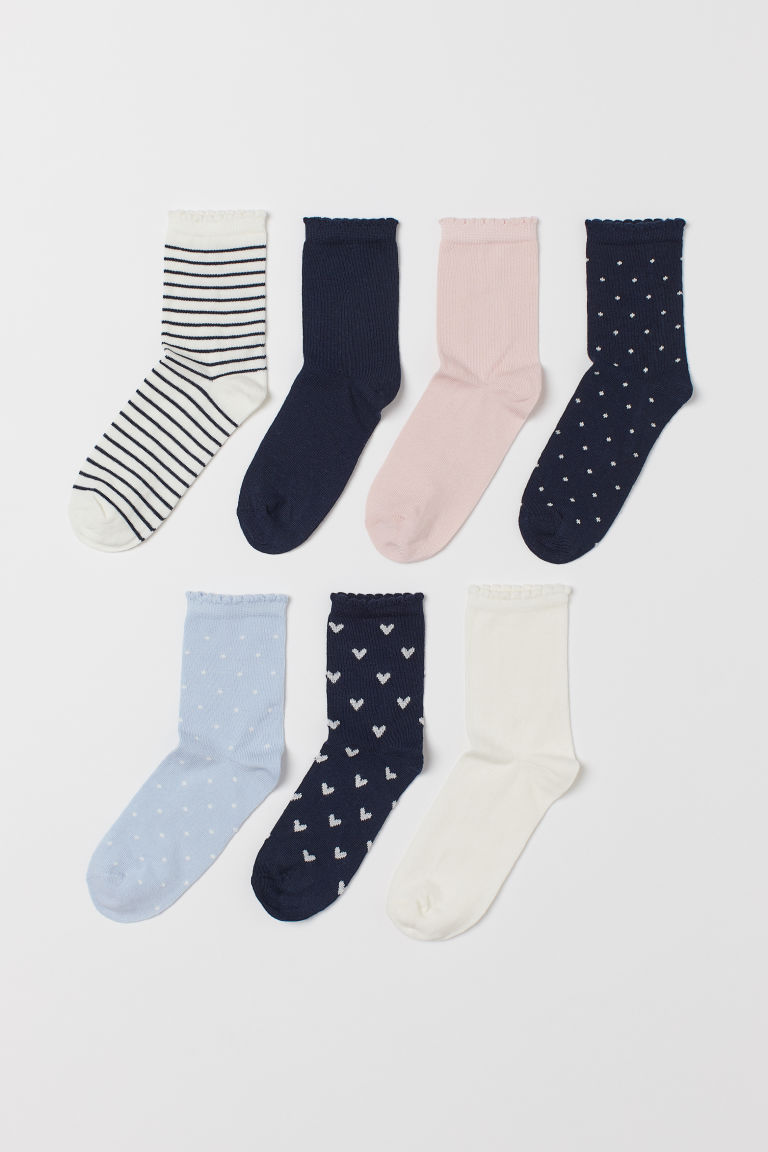 7-pack socks - White/Dark blue striped - Kids | H&M