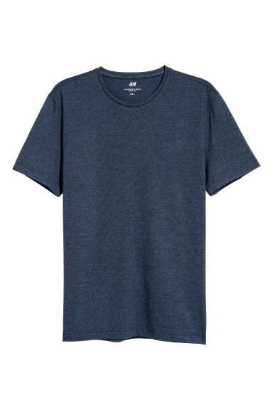 Round-neck T-shirt Slim fit - Dark blue/Striped - Men | H&M
