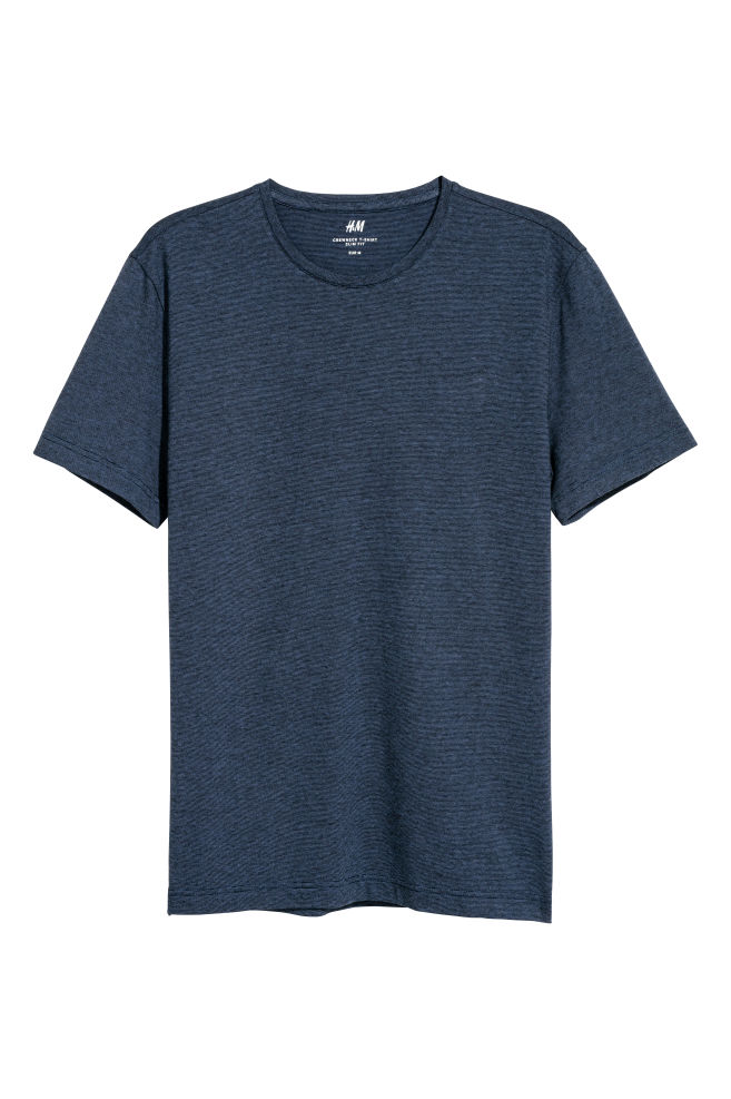 ce4d15fb0795 Round-neck T-shirt Slim fit - Dark blue/Striped - Men | H&M IN