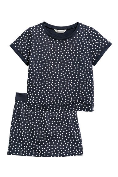 Top e gonna - Blu scuro/pois - BAMBINO | H&M CH
