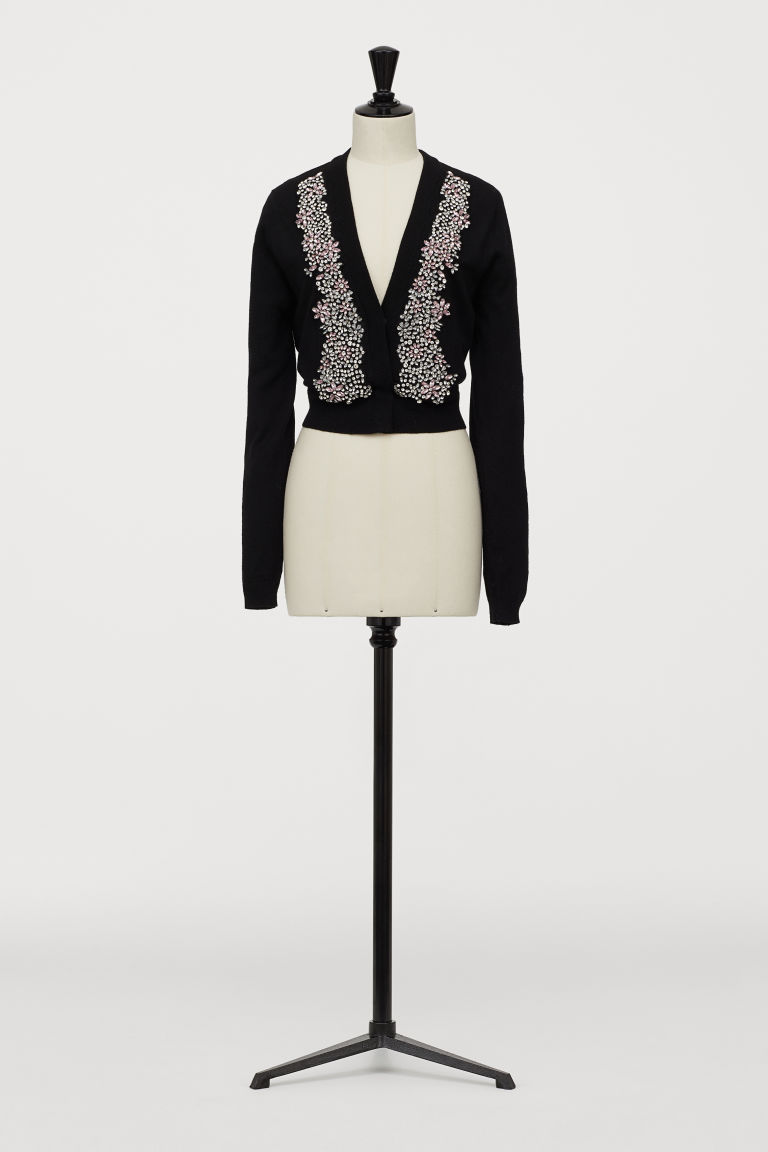 Cardigan with sparkly stones - Black - Ladies | H&M