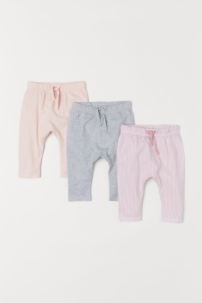 3-pack jersey trousers - Pink/Striped - Kids | H&M