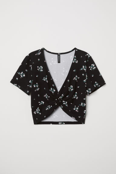 Top corto con laccetto - Nero/fiori - DONNA | H&M IT