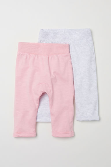 2-pack jersey trousers - Light pink/Light grey - Kids | H&M CN