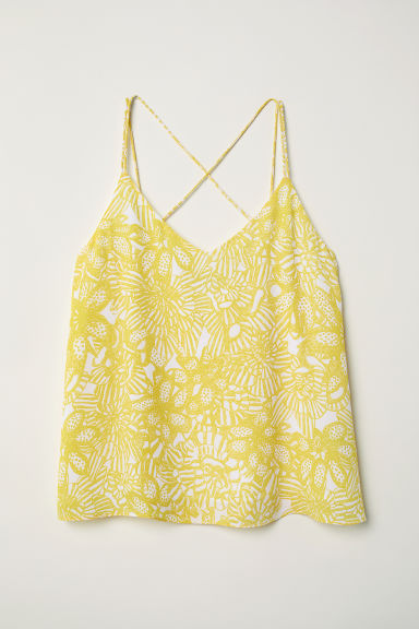 Chiffon strappy top - Yellow/Floral - Ladies | H&M CN