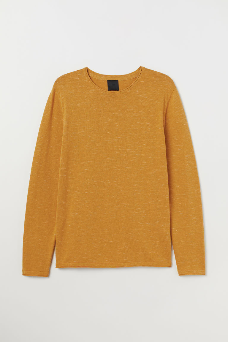 Fine-knit Sweater - Mustard yellow - Men | H&M US