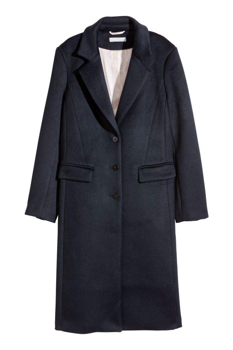 Wool-blend coat - Dark blue - Ladies | H&M GB
