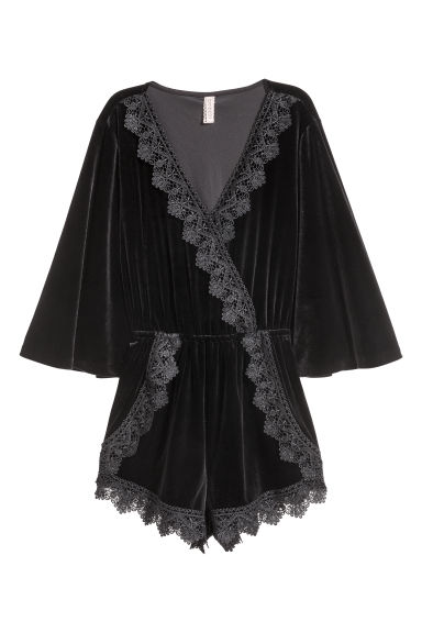 Velour playsuit - Black - Ladies | H&M CN