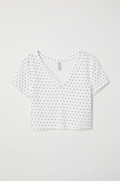 Cropped top - White/Black spotted - Ladies | H&M CN