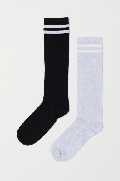 2-pack knee socks - Black/Glitter - Kids | H&M