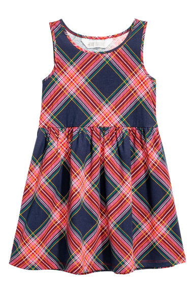 Sleeveless jersey dress - Dark blue/Pink checked - Kids | H&M CN