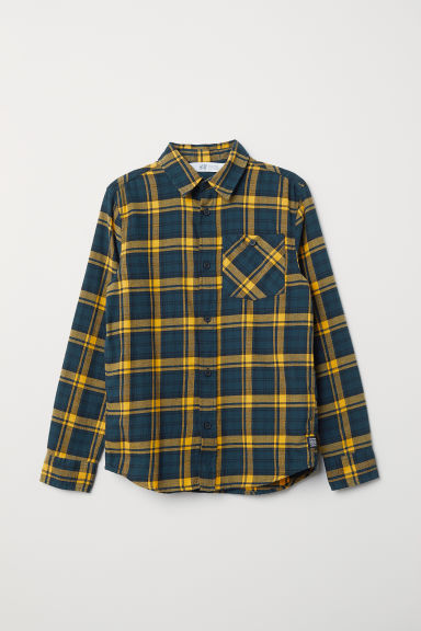 Checked flannel shirt - Dark blue/Yellow checked - Kids | H&M