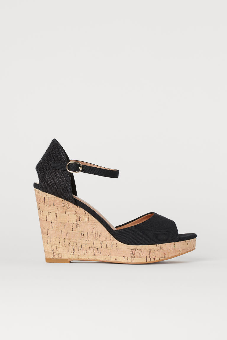 Wedge-heeled Sandals - Black -  | H&M US