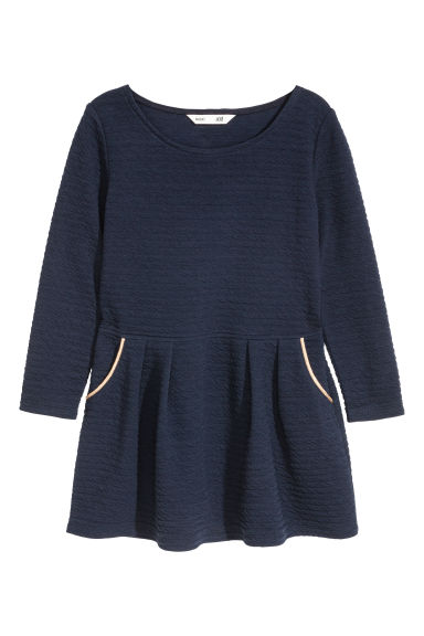 Textured jersey dress - Dark blue -  | H&M
