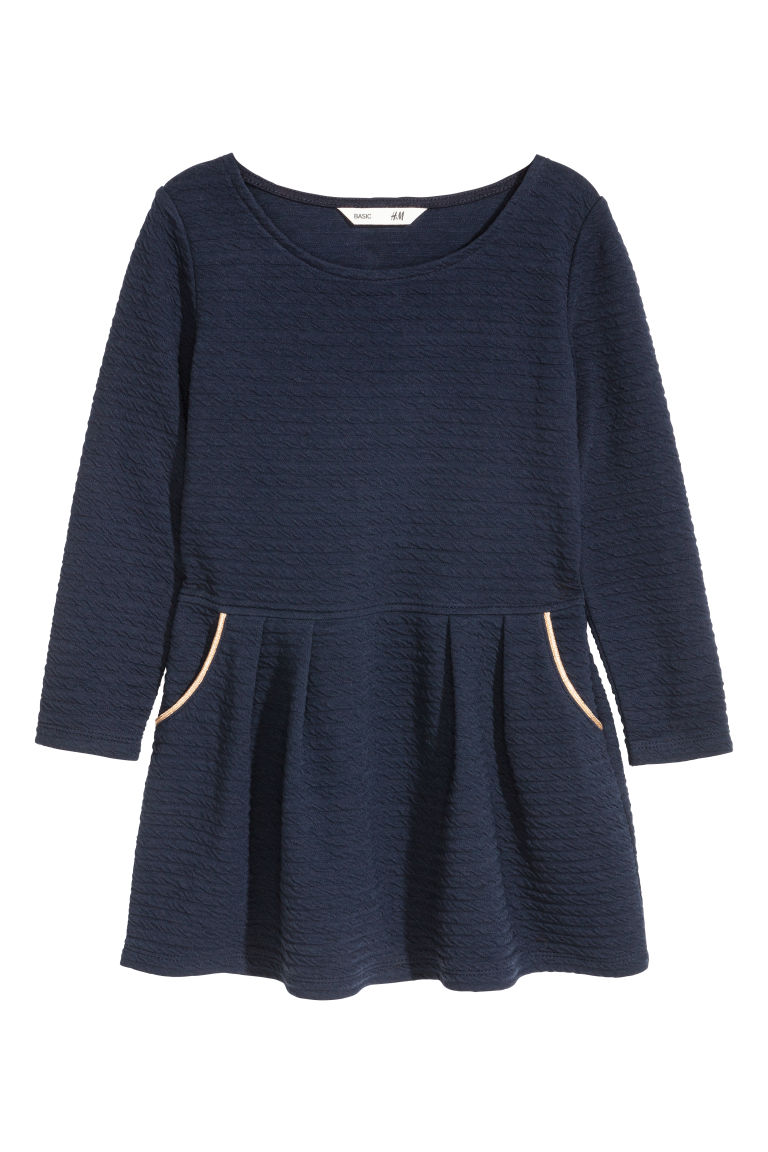 Textured-pattern jersey dress - Dark blue - Kids | H&M GB