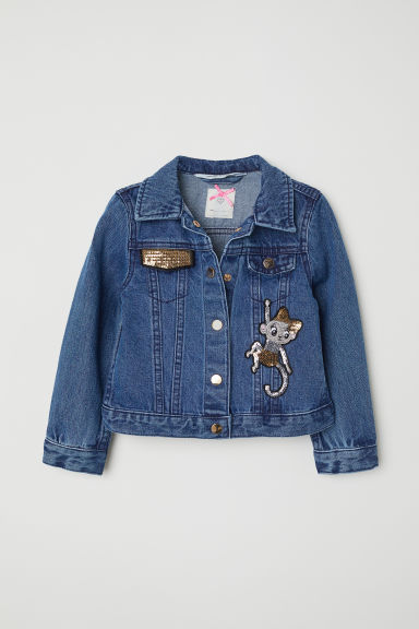 Sequined denim jacket - Dark blue denim -  | H&M CN