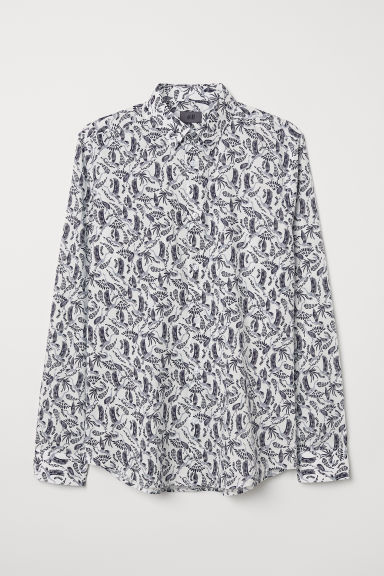 Patterned shirt Slim Fit - White/Birds - Men | H&M CN