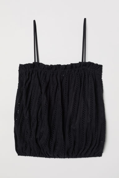 Top con motivo traforato - Nero - DONNA | H&M IT