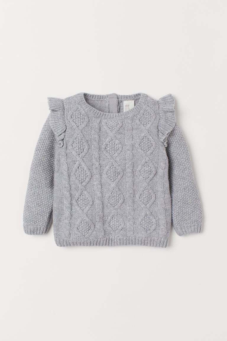 Cable-knit Sweater - Light gray melange - Kids | H&M CA