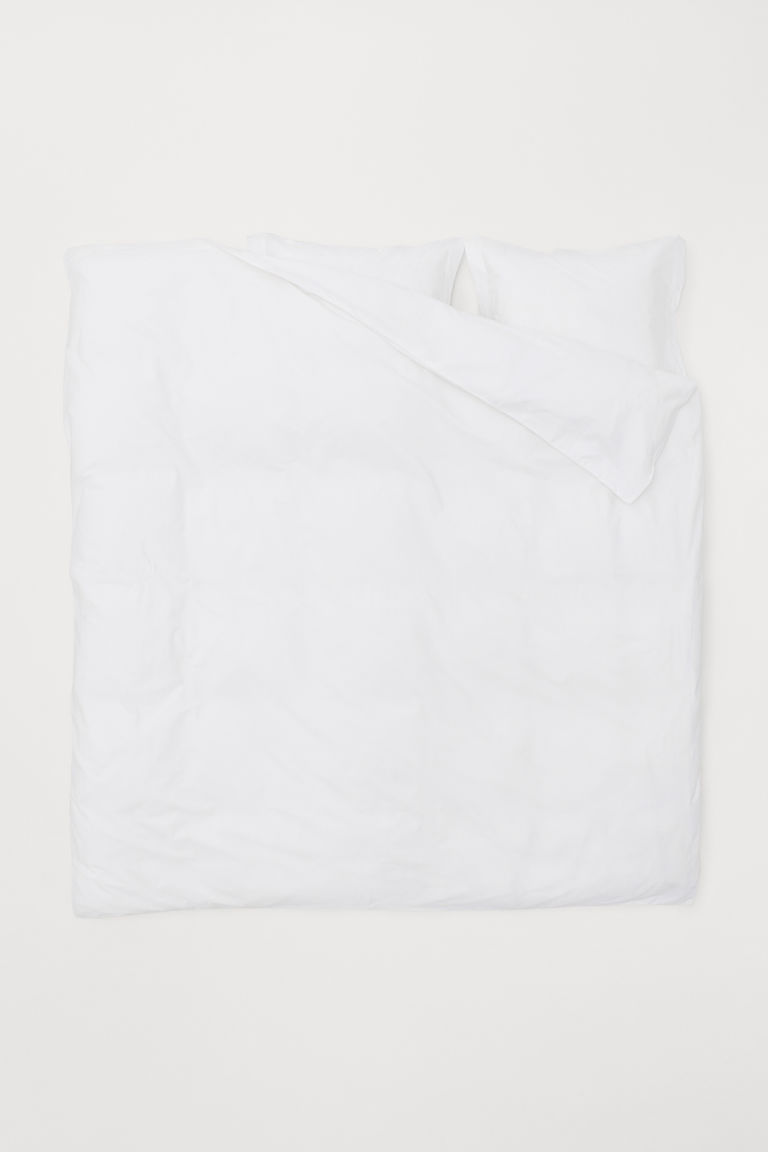 Cotton percale duvet cover set - White - Home All | H&M CN