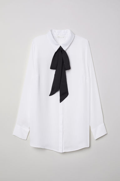 MAMA Blouse with ties - White - Ladies | H&M