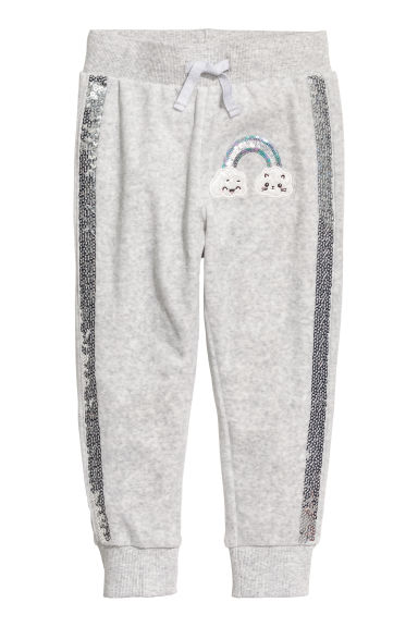 Pantalon jogger en velours - Gris clair - ENFANT | H&M BE
