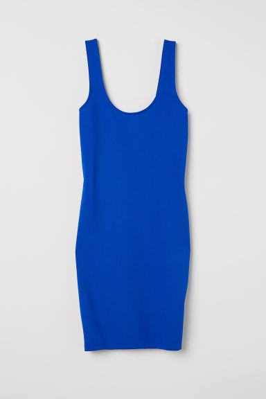 Sleeveless jersey dress - Bright blue/Textured stripe - Ladies | H&M CN