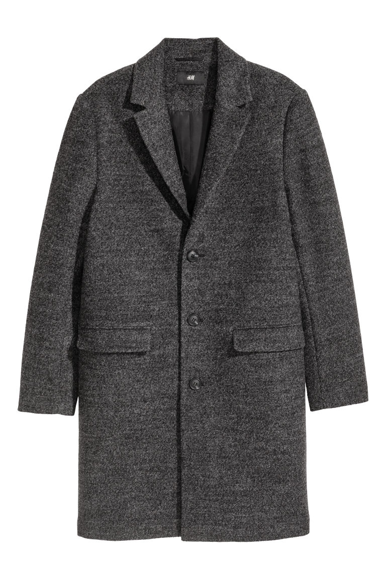 Wool-blend coat - Dark grey marl - Men | H&M CN
