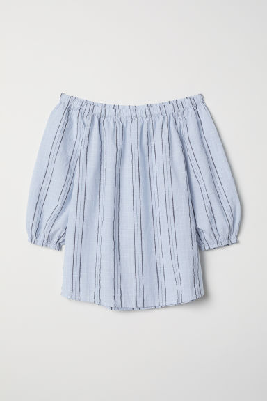 Off-the-shoulder blouse - Light blue/Striped - Ladies | H&M