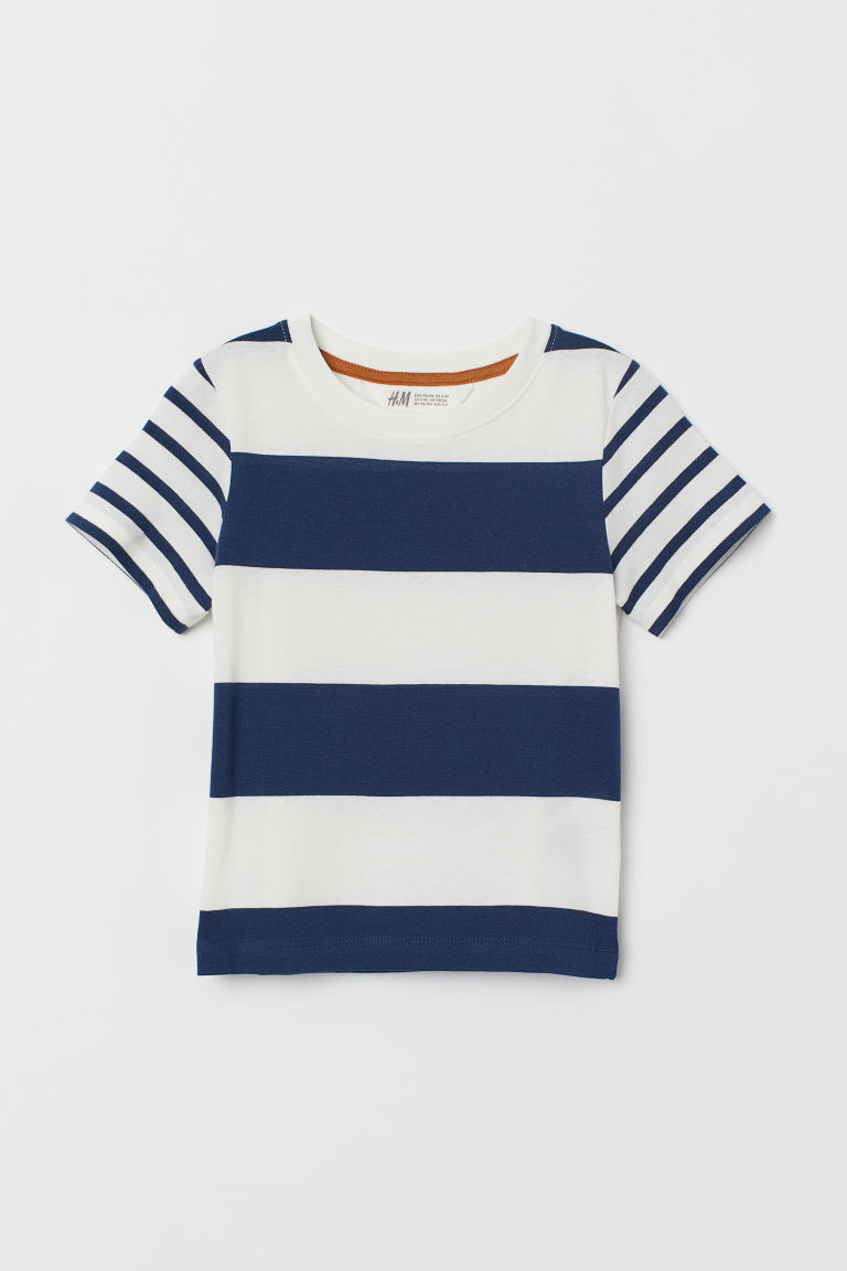 Printed T-shirt - Dark blue/White striped -  | H&M CN