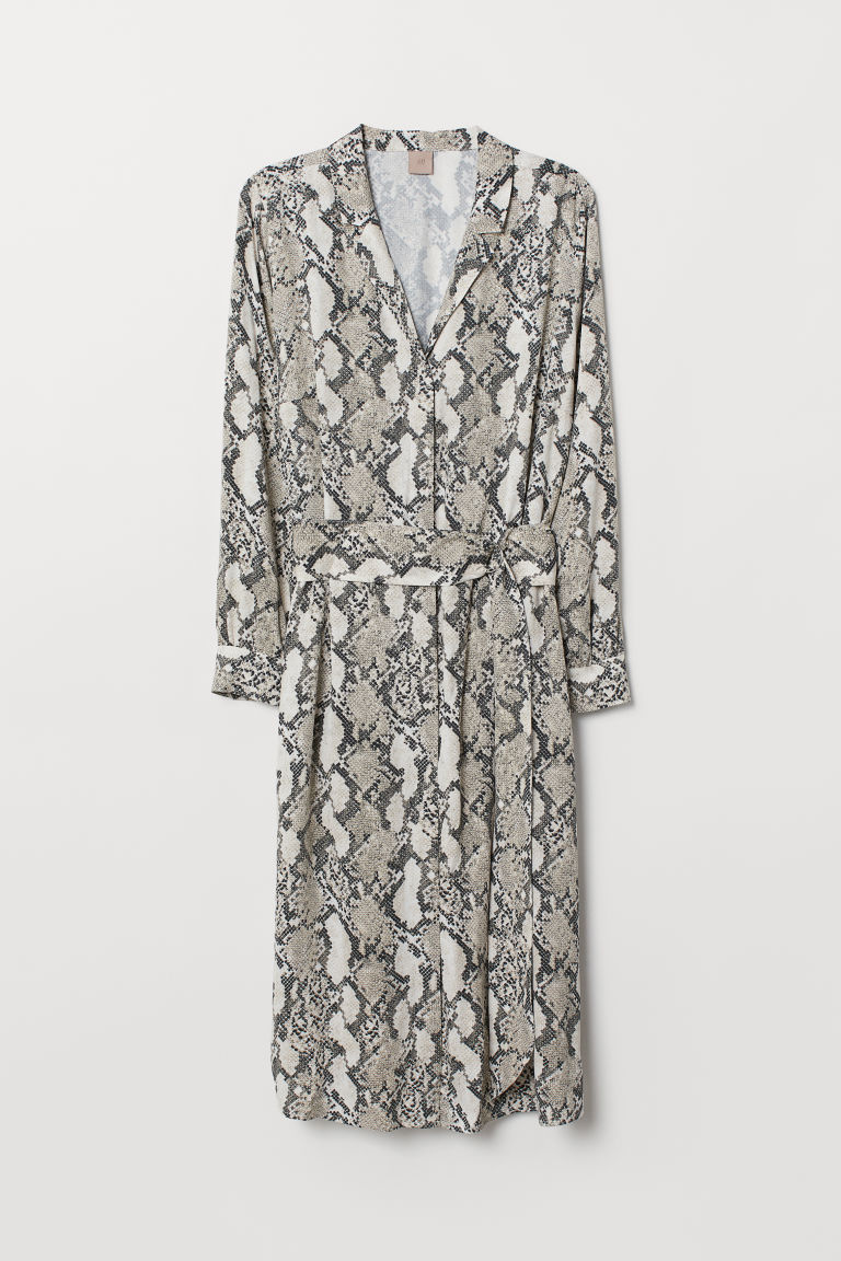 H&M+ V-neck dress - Grey/Snakeskin-patterned - Ladies | H&M CN