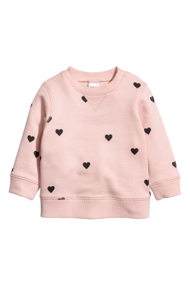 Cotton sweatshirt - Powder pink/Hearts - Kids | H&M
