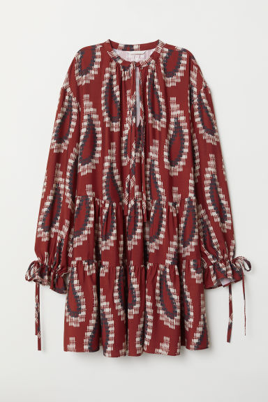 Flounced tunic - Rust red/Patterned - Ladies | H&M