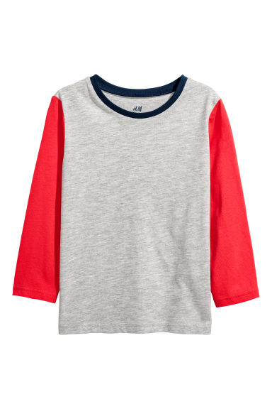 Jersey top - Grey marl/Red -  | H&M CN