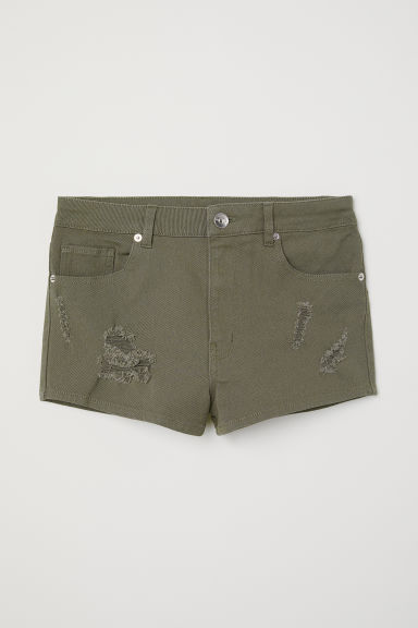 Twill shorts High Waist - Dark khaki green -  | H&M