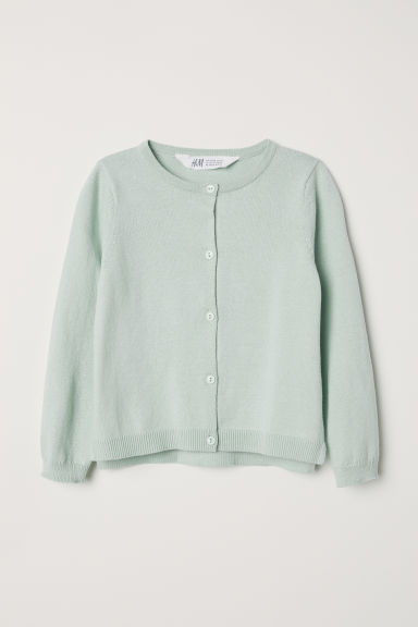Fine-knit cardigan - Mint green - Kids | H&M CN