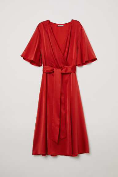 V-neck silk dress - Red - Ladies | H&M GB
