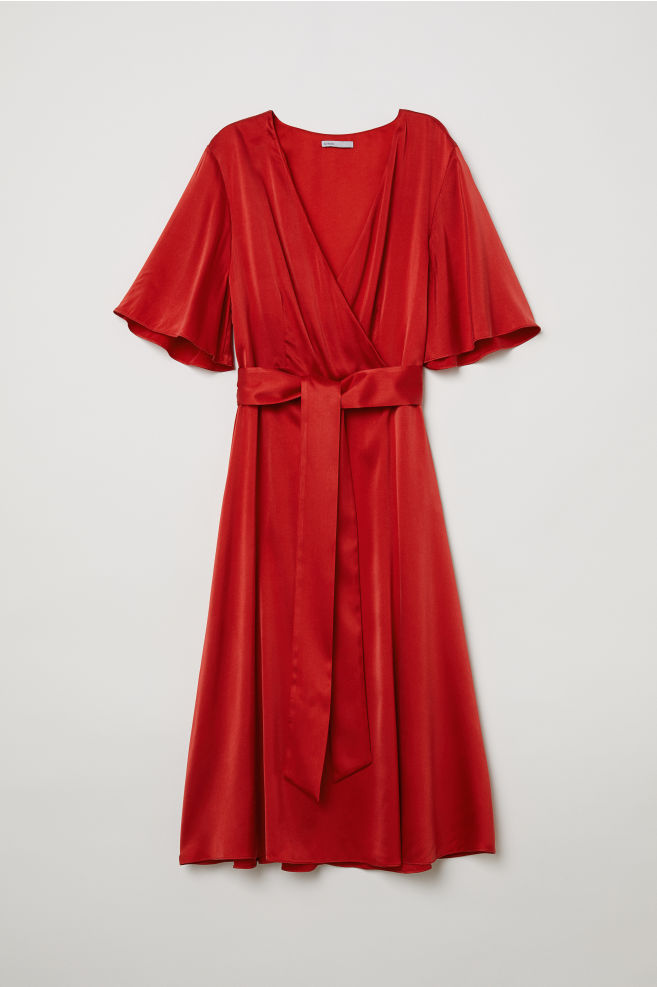 V-neck silk dress - Red - Ladies  dd44582e3