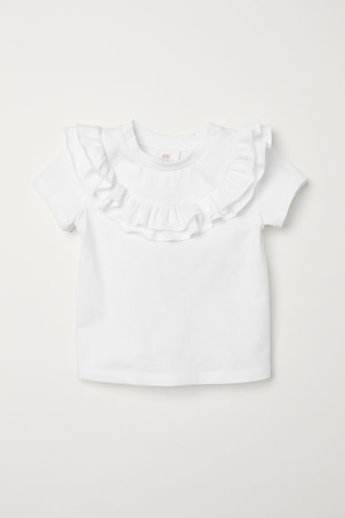 Frilled top - White -  | H&M CN