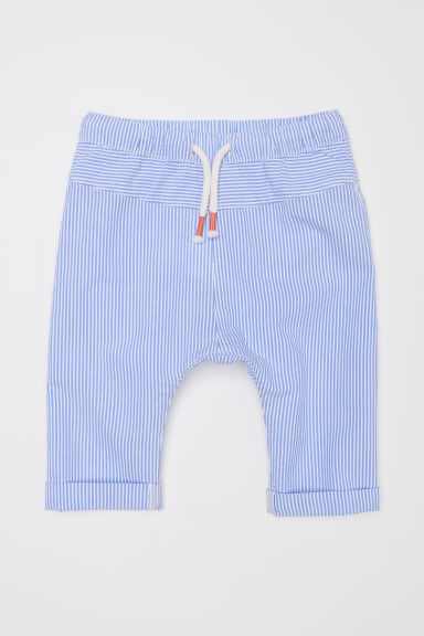 Cotton pull-on trousers - Light blue/White striped - Kids | H&M