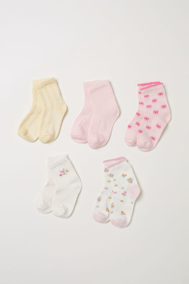 5-pack socks - Pink/Floral - Kids | H&M