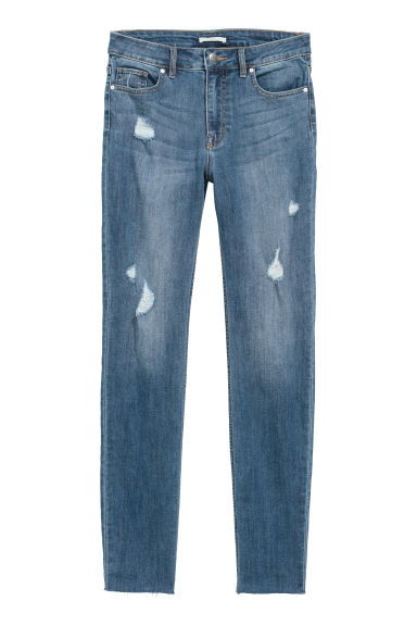 Trousers Skinny Fit - Denim blue/Trashed - Ladies | H&M CN