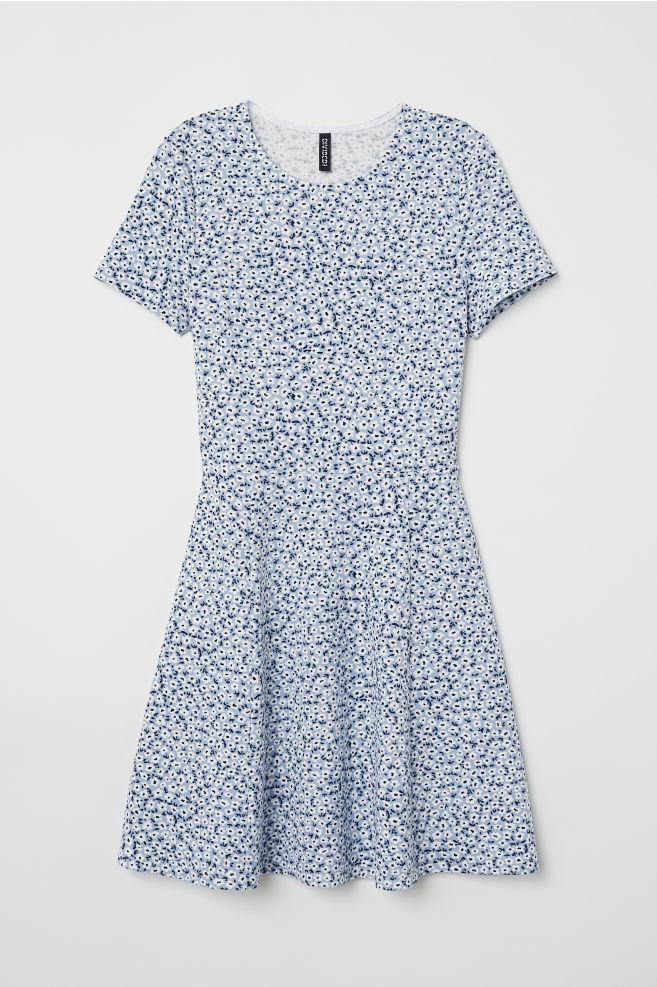 927ee5c81e03 Jersey dress - Light blue/White floral -   H&M ...