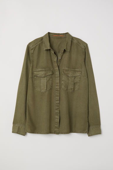 Camicia utility in lyocell - Verde kaki - DONNA | H&M IT